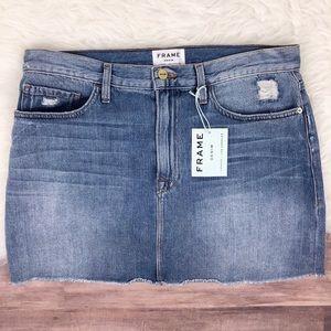 FRAME Le Mini Raw Edge Denim Skirt Size 31